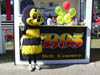 Buzzy at booth balloons